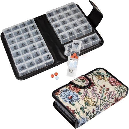 Floral Pill Case Box, Pill Organizer 14 day Pill Holder Travel Pill Container and Medication Organizer, Travel Case - 4 Marked Compartments for each Day of the Week - Morn,