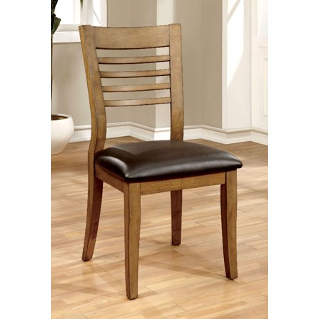 2 Tone Wood (Furniture Of America Dwight I Natural Wood Tone Ladder Back Side Chair Set Of)