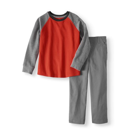 Long Sleeve Thermal Solid Raglan T-Shirt & Woven Pants, 2pc Outfit Set (Little Boys & Big Boys)