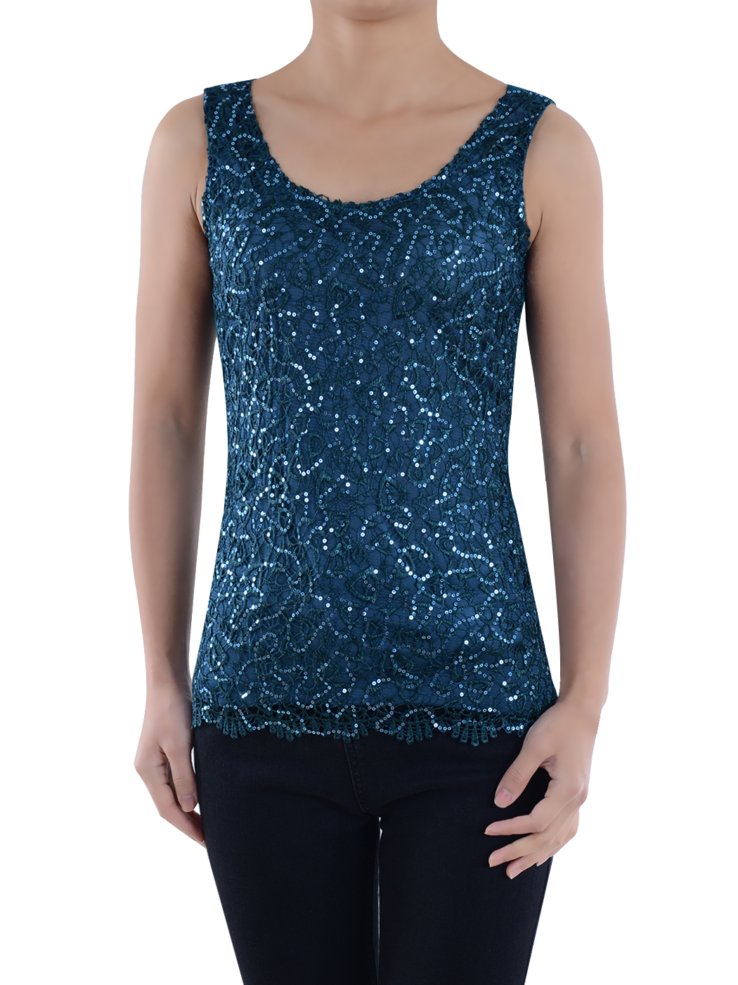 Summer Womens Slim Fit Sparkly Lace Embroidery Shining Vest Bling Sequin Tank Top Sleeveless T-Shirt Blouses