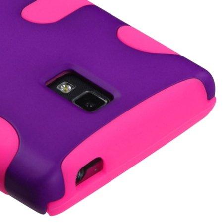 Insten Rubberized Grape Pink Fishbone Phone Protector Case For LG P769 Optimus L9 - image 2 de 3