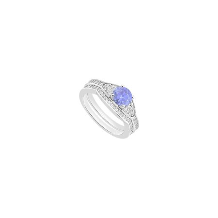 14K White Gold Created Tanzanite Engagement Ring with Cubic Zirconia Wedding Bands of 1.05 CT TG - image 2 de 2