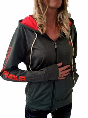 288e57eb9ca602 Product Image Women s New Under Armour Green Neon Coral ColdGear Logo Loose  Full Zip Hoodie S