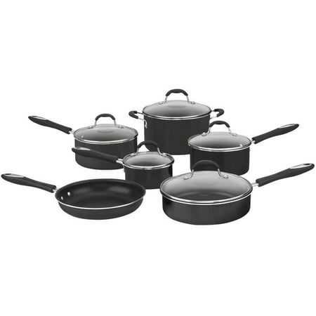 Cuisinart Advantage Non-Stick Hard Aluminum 11-Piece Cookware Set, Black