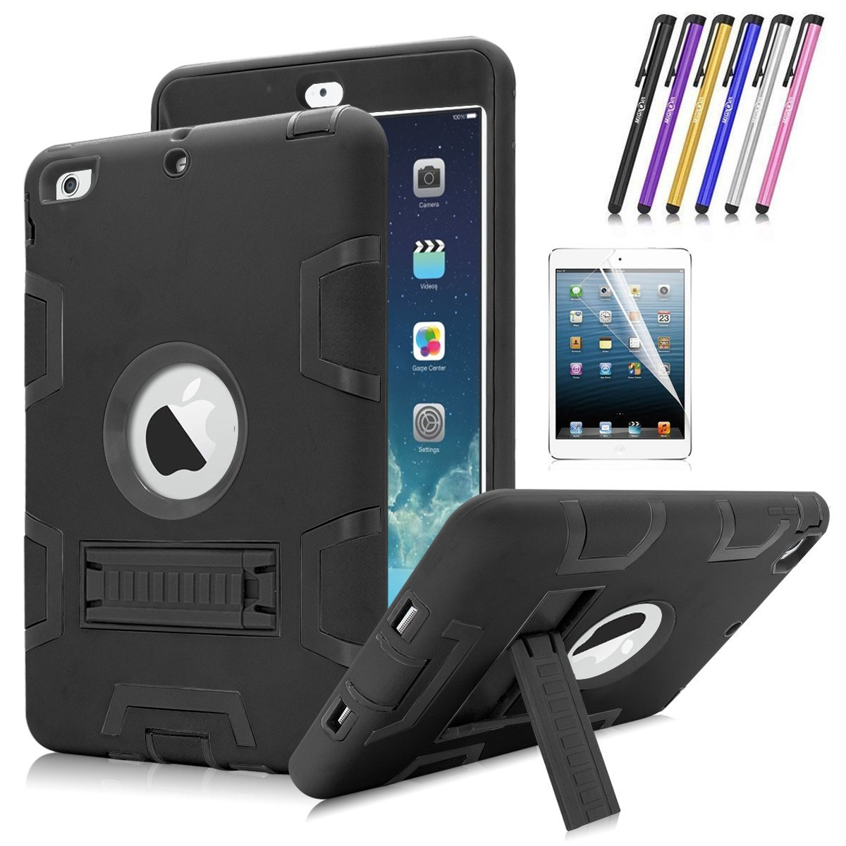 iPad Mini 1 / 2 / 3 Case, Mignova Heavy Duty rugged impact Hybrid Protective Case with Build In Kickstand For Apple iPad Mini 1 / 2 / 3 + Screen Protector Film and Stylus Pen (Black / Black)