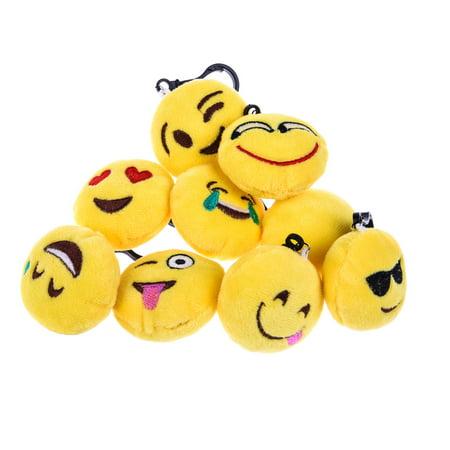 24 PCs Emoji Keychain Mini Cute Plush Pillows Toy Key Chain Decorations Kids Emoji Party Supplies Favors F-140 - Print Tags For Favors
