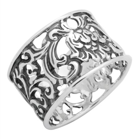 - Sterling Silver Filigree Flower Wide Band Ring