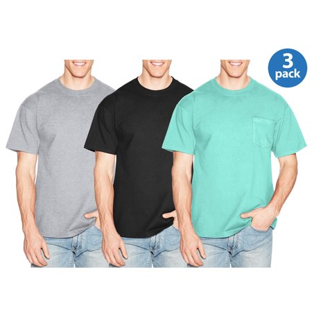 Men's Premium Beefy-t Cotton Short Sleeve T-shirt with Pocket, Available in big and tall, 3 pack for $17