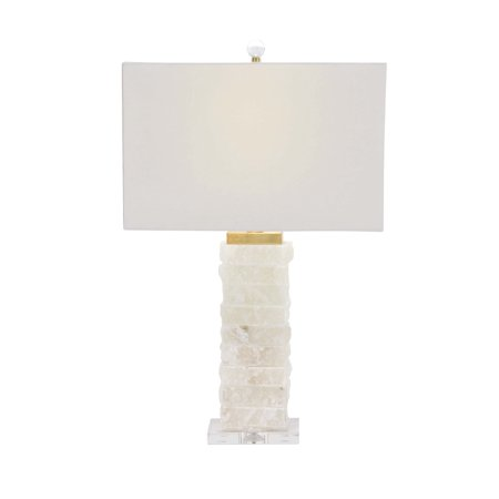 Acrylic Modern Table Lamp - Decmode Modern White Textured Marble and Acrylic Table Lamp, White