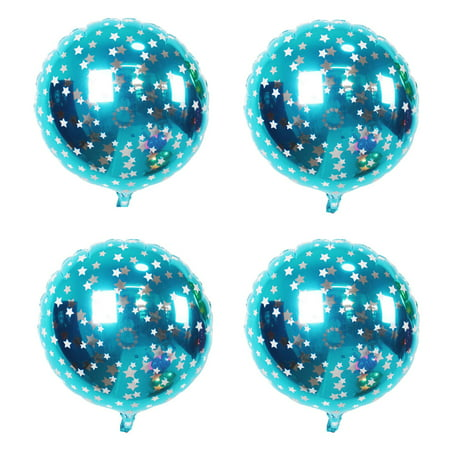 Unique Bargains Home Birthday Wedding Foil Star Pattern Round Balloon Sky Blue 18 Inches