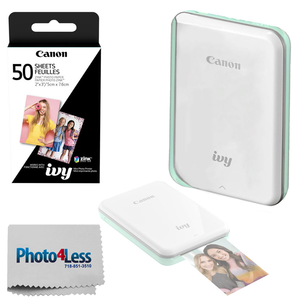 Canon IVY Mini Mobile Photo Printer (Mint Green) - ZINK Zero Ink Printing Technology – Wireless/Bluetooth + Canon 2 x 3 ZINK Photo Paper Pack (50 Sheets) + Photo4Less Cleaning Cloth – Deluxe Bundle