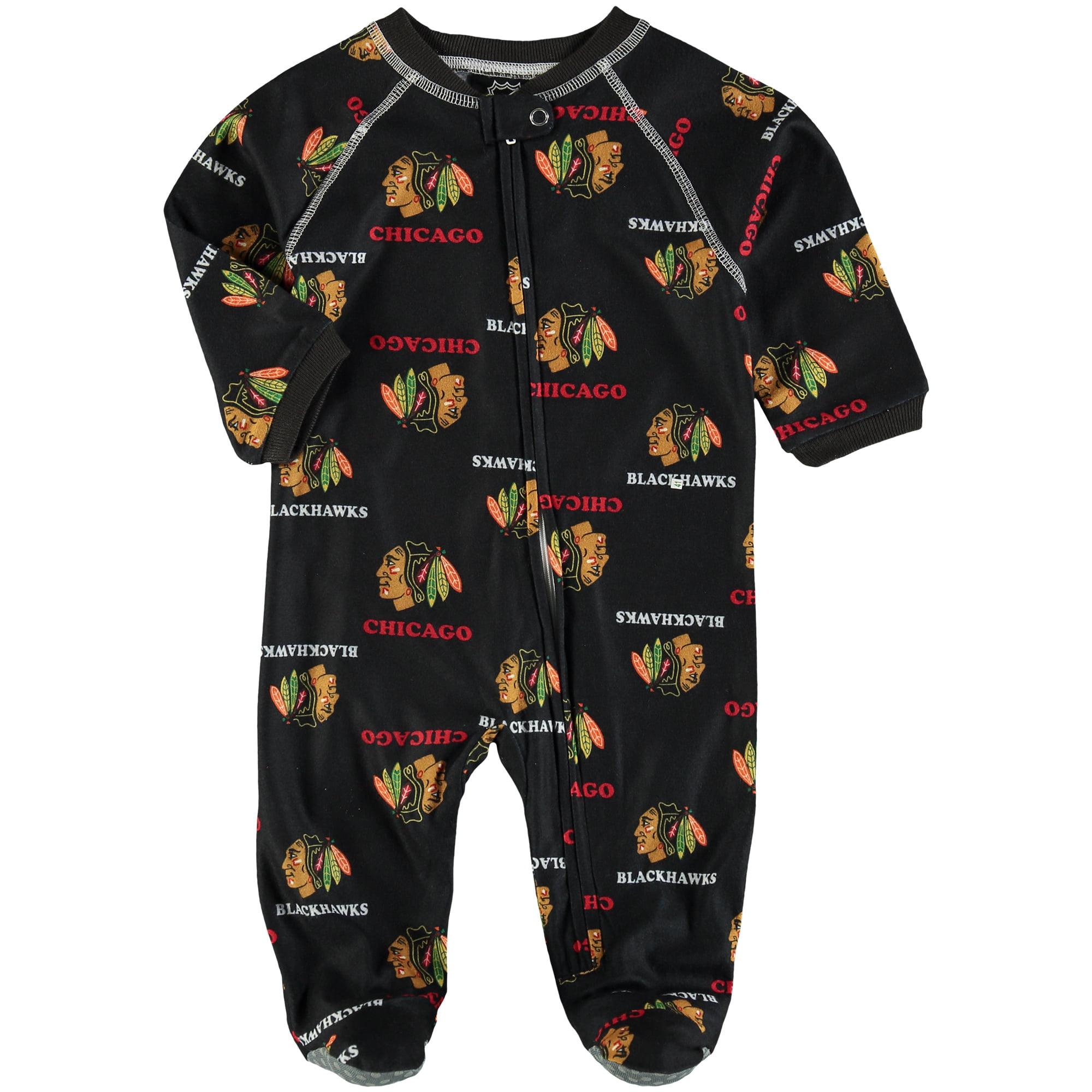 Chicago Blackhawks Infant Allover Raglan Sleeper - Black