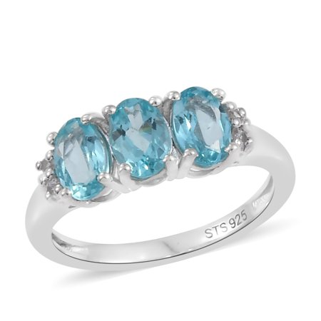 Statement Ring 925 Sterling Silver Platinum Plated Apatite Zircon Gift Jewelry for Women Cttw 1.2