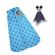 Disney Mickey Mouse Lovey and Infant Wearable Blanket Bundle, 1 Wearable Blanket, 1 Lovey, Medium, Male