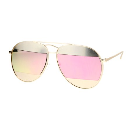 0d8f9e091 SA106 - SA106 Color Mirror Reflective Cropped Lens Unique Aviator Sunglasses  Gold Pink - Walmart.com