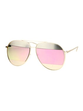 c2f7067e529 Product Image SA106 Color Mirror Reflective Cropped Lens Unique Aviator  Sunglasses Gold Pink