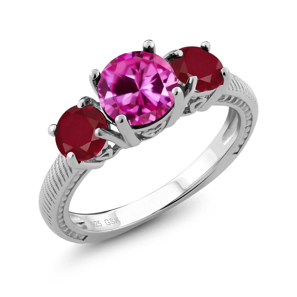 2.76 Ct Round Pink Created Sapphire Red Ruby 925 Sterling Silver Ring by
