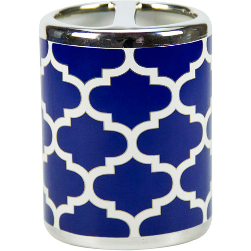 Mainstays Fretwork Toothbrush Holder, Navy/White