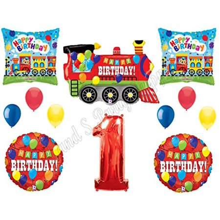 1st Birthday Boy Party Supplies (1st TRAINS Engine Birthday Party Balloons Decoration Supplies First)