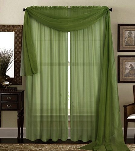 """Qutain Linen Solid Viole Sheer Curtain Window Panel Drapes 55"""" x 84 inch - Hunter Green"""