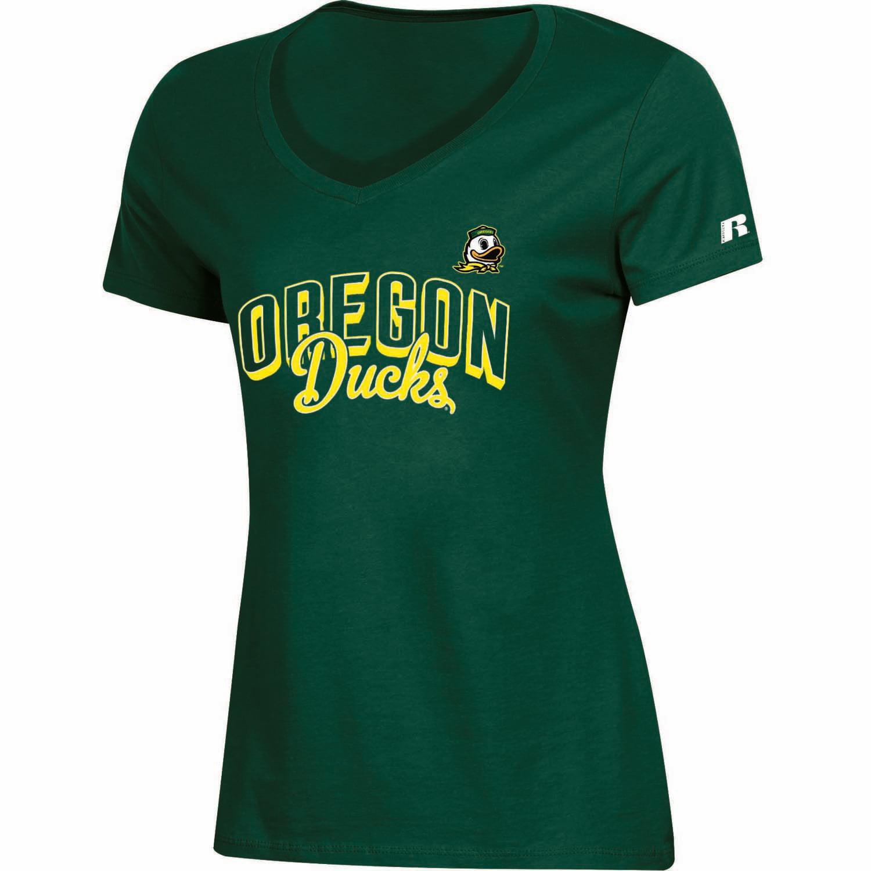 Women's Russell Green Oregon Ducks Arch V-Neck T-Shirt