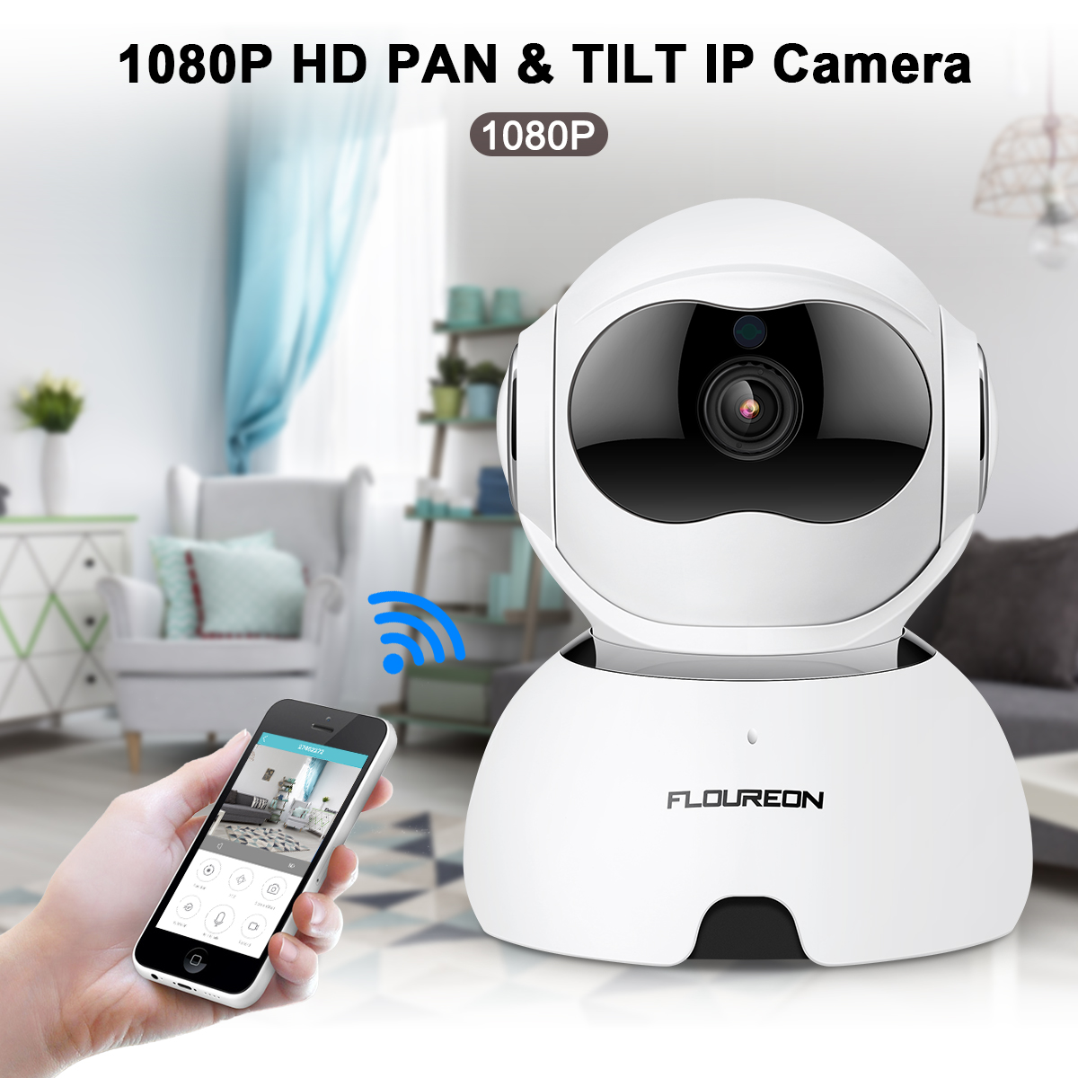 FLOUREON Q10 1080P 2MP Wireless Smart Wi-Fi IP Camera Pan Tilt Alarm TF Card Slot White Home Security Surveillance