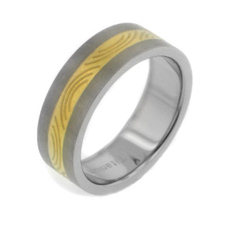 7 Mm Wide - Womens and Mens 7mm Wide Two-Tone Gold Color Etched Stripe Center Brushed Finish Titanium Wedding Band Ring