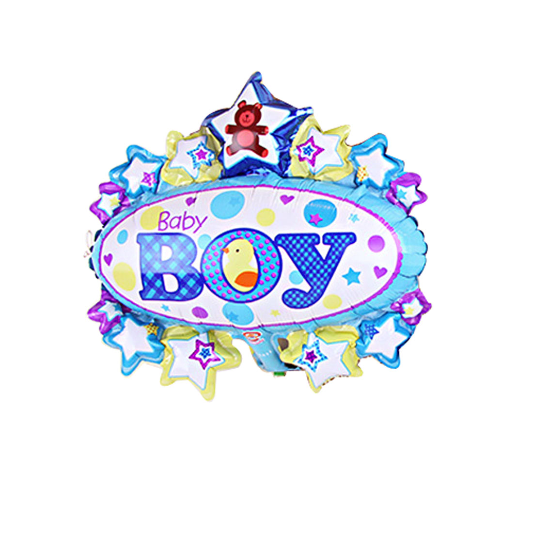 Unique Bargains Home Foil Boy English Letter Pattern Inflation Balloon Birthday Party Decor Blue