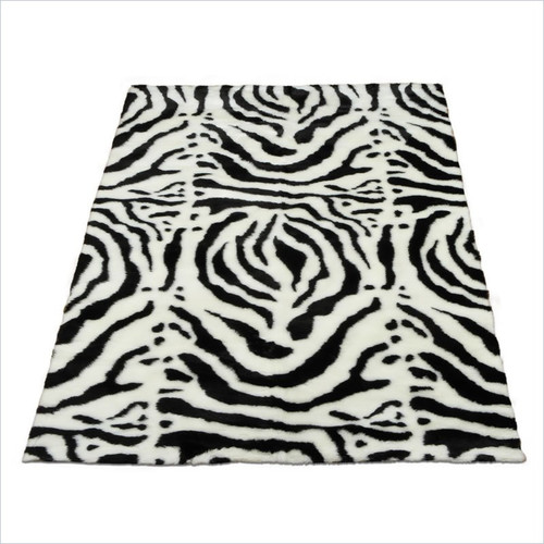 Walk On Me Animal Zebra White/Black Spine Area Rug