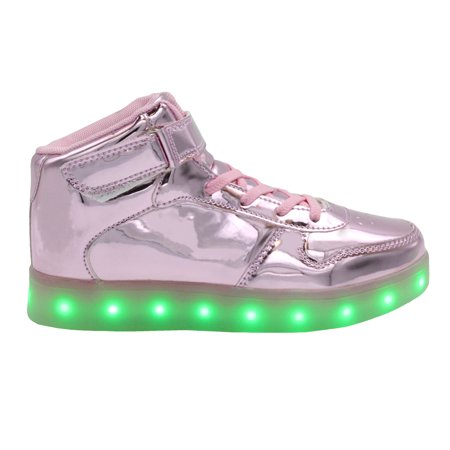 Galaxy LED Shoes Light Up USB Charging High Top Strap & Lace Women's Sneakers (Pink Glossy) - High Top Sparkle Sneakers
