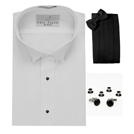 Wing Collar Tuxedo Shirt, Cummerbund, Bow-Tie, Cuff Links & Studs