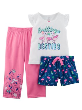 Carter's Baby Girls' 3-Piece Neon Flamingo Poly PJs
