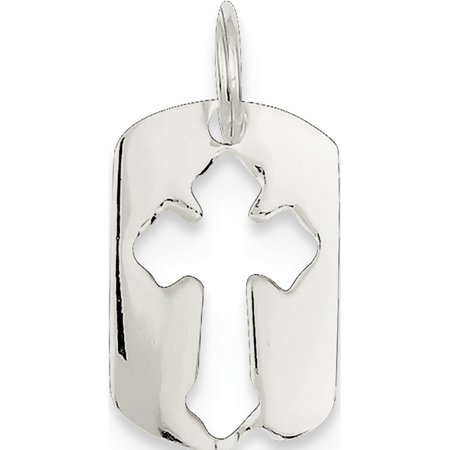 - Leslies Fine Jewelry Designer 925 Sterling Silver Dog Tag Cross (12x18mm) Pendant Gift