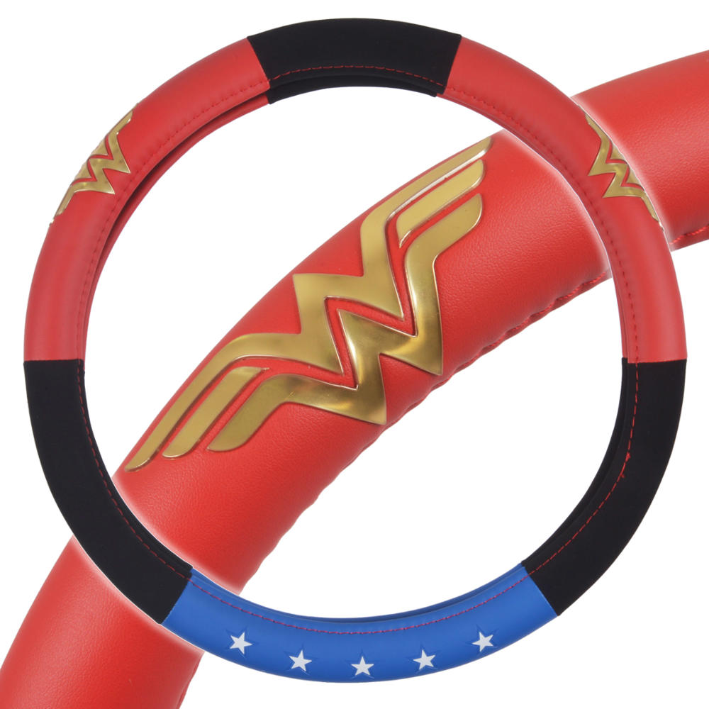 Wonder Woman Car Steering Wheel Cover - Synthetic Leather - Standard Size Fits 14.5 to 15.5 inch Wheel