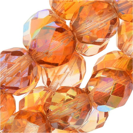Czech Fire Polished Glass, Faceted Round Beads 8mm, 20 Pieces, Crystal Orange Rainbow