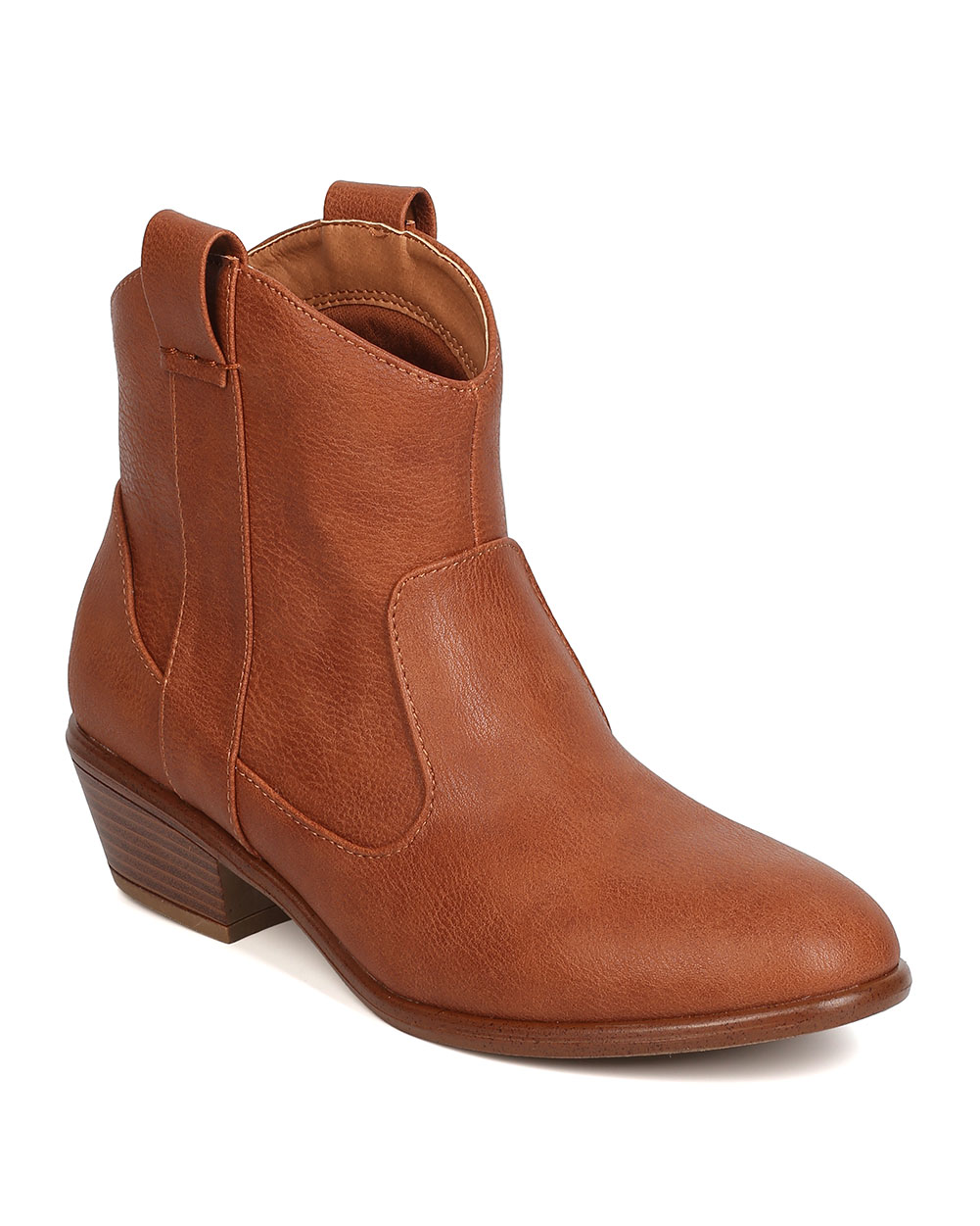 Women Leatherette Cowboy Bootie - Casual Festive Rodeo - Western Ankle Boot - GC78 by