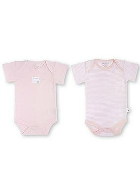 Burt's Bees Baby Girls' 100 % Organic Cotton 2 Set Body Suit (3-6 Months, Pink)