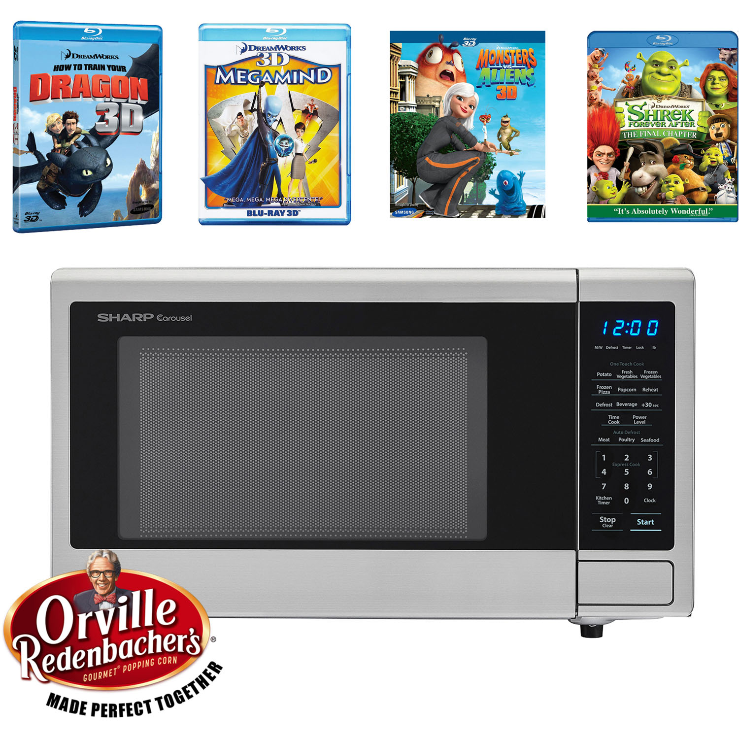 SHARP's Movie Night with Orville Redenbacher's Certified 1.1 cu. ft. Carousel Microwave Oven and 4 Blu-ray 3D Movies