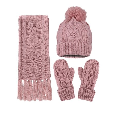 Women's Winter Warm 3PC Navy Cable Knit Gloves Scarf Beanie Hat Set,
