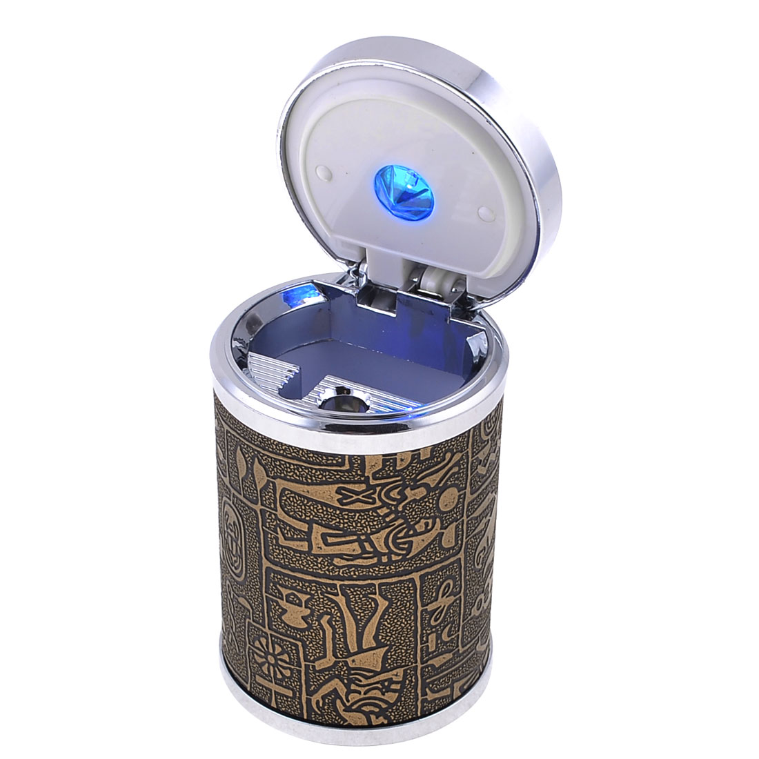 Portable Plastic Cylinder Shaped Ashtray for Car, with Blue LED Light, Brown Sliver Tone