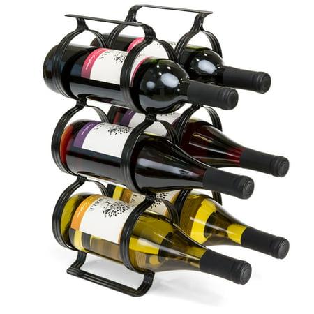 Best Choice Products 6-Bottle Secure Steel Countertop Wine Rack Storage w/ Built-In Handles - Black Countertop Wire Bottle Organizer