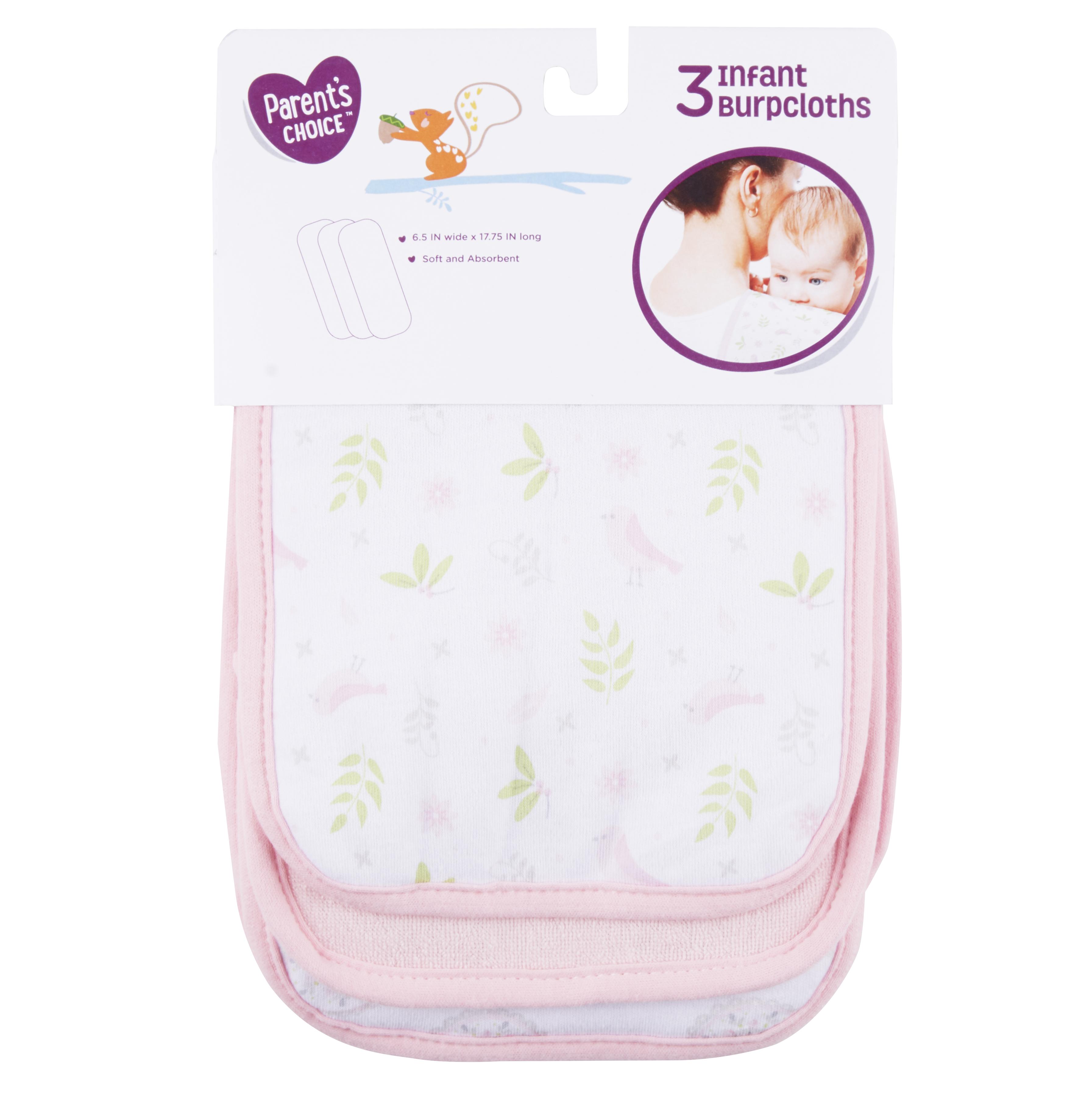 Parent's Choice Girl Burpcloths, 3 Pack