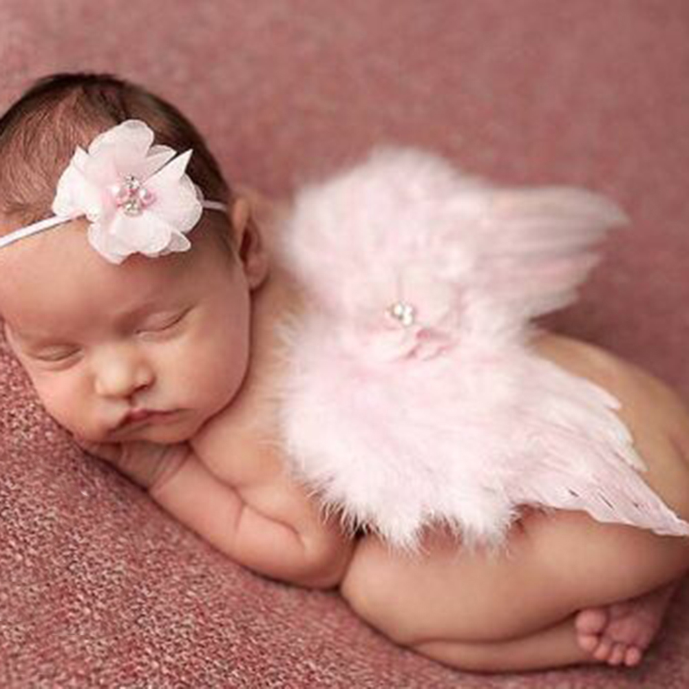 Directer Fashion Newborn Baby Infant Kids Headband Feather Angel Wings Flower Photo Props
