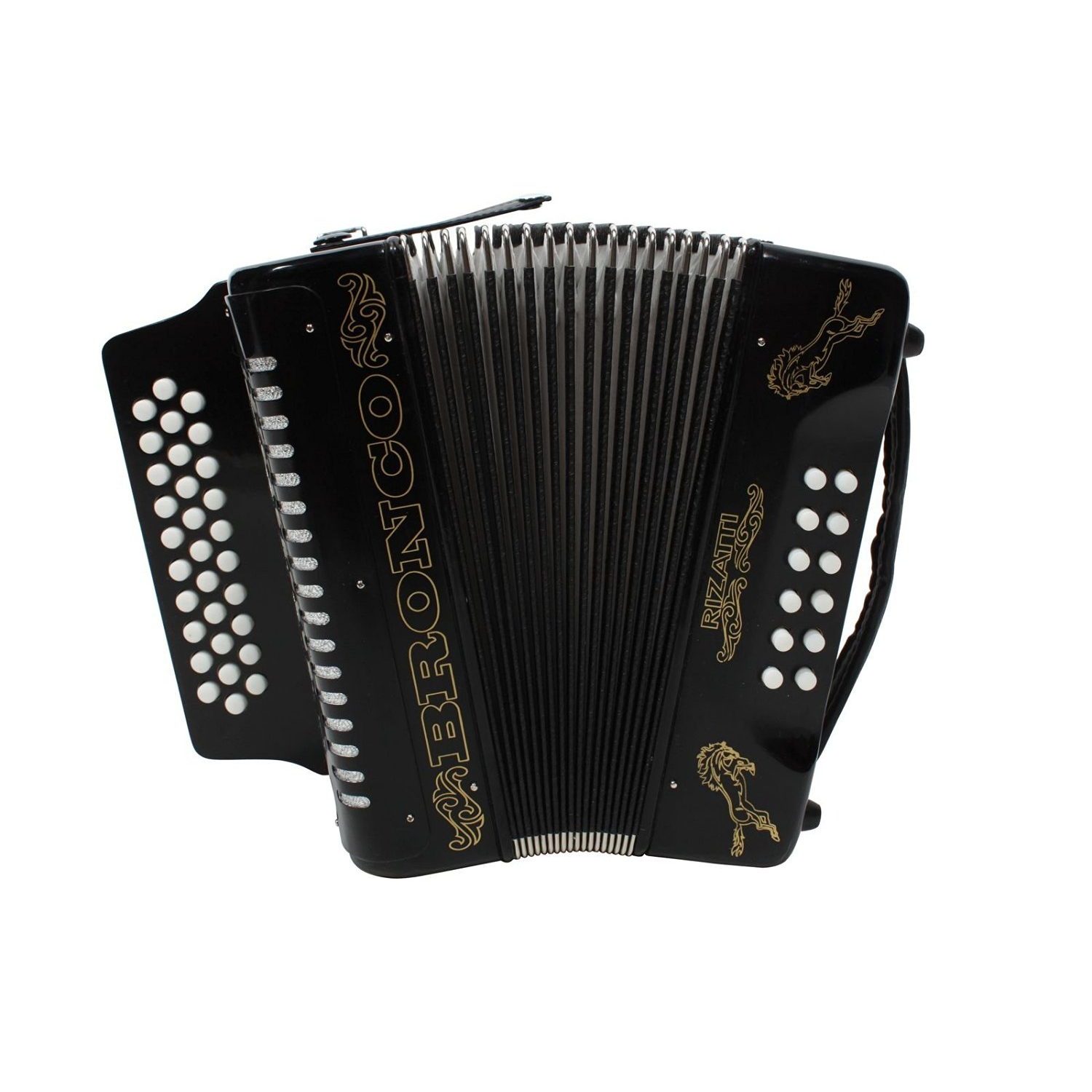 Rizatti Bronco RB31GB Diatonic Accordion - Black - Key G/C/F