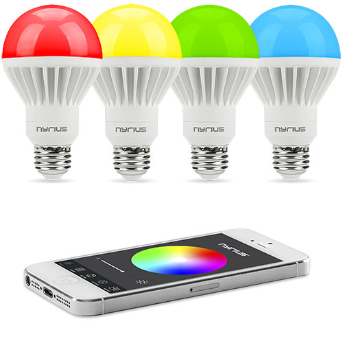 Nyrius Wireless Smart LED Multicolor Light Bulb (4 PACK) for Smartphone, iOS & Android App Controls On\/Off, Scheduling