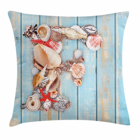 Letter F Throw Pillow Cushion Cover, Coastal Image with Soft Color Sea Related Animal Shells Alphabet, Decorative Square Accent Pillow Case, 20 X 20 Inches, Pale Blue Ivory Dark Coral, by Ambesonne