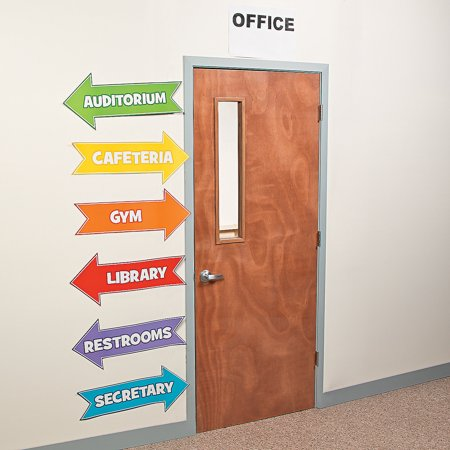 Fun Express - Classroom Directional Sign - Educational - Classroom Decorations - Bulletin Board Decor - 12 Pieces](February Classroom Door Decoration Ideas)