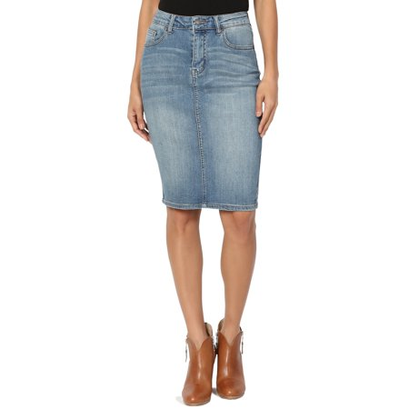 - TheMogan Women's Vintage Washed Blue Jean Pencil Midi Soft Denim Skirt