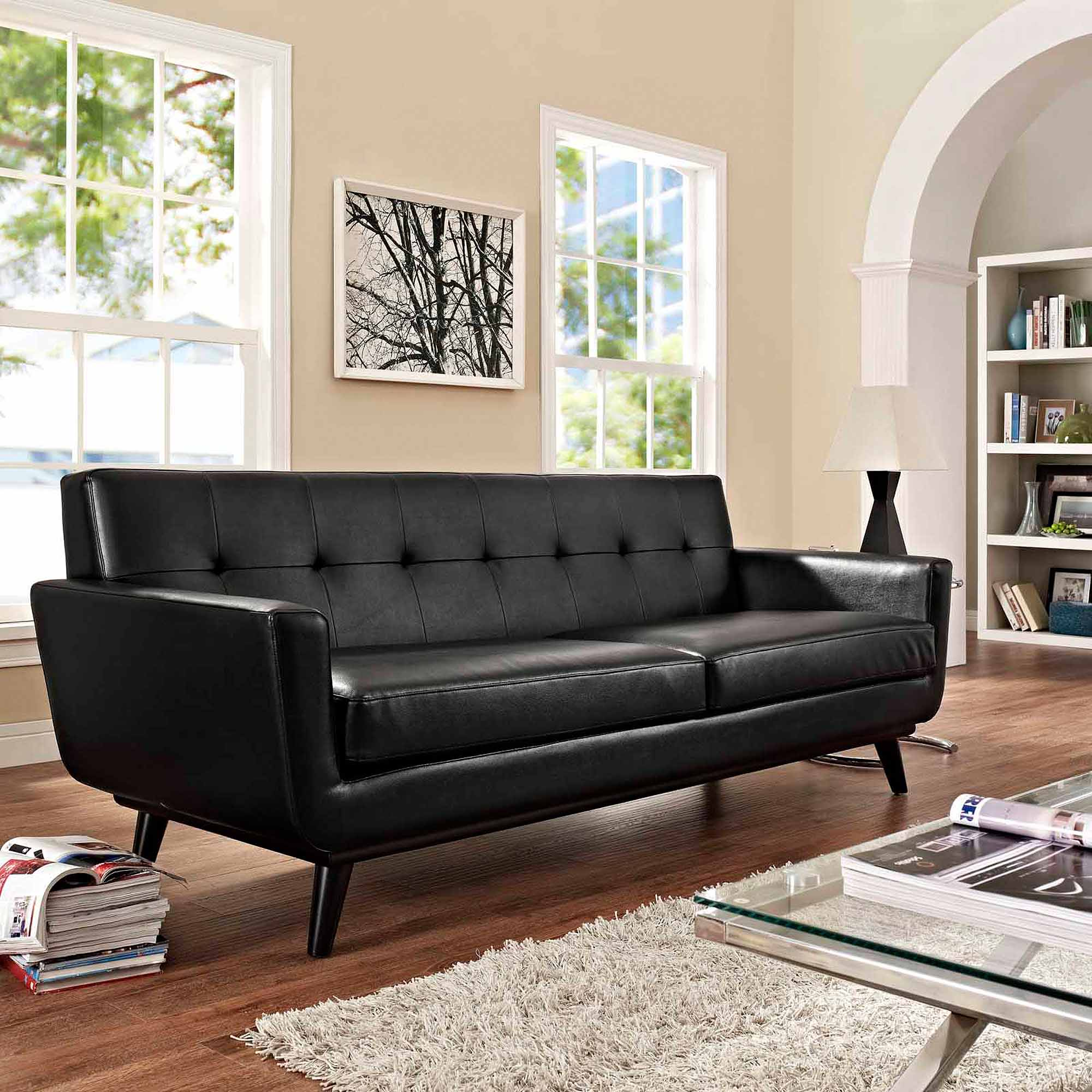 Modway Engage Bonded Leather Sofa With Wood Legs, Multiple Colors    Walmart.com
