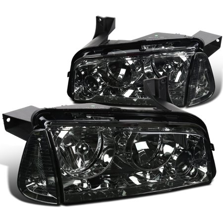 Spec-D Tuning For 2006-2010 Dodge Charger Euro Chrome Smoke Headlights Replacement W/ Corner Lamps (Left+Right) 2006 2007 2008 2009 2010